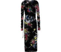 Wrap-effect Floral-print Stretch-mesh Midi Dress Black