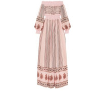 Off-the-shoulder Shirred Lace-trimmed Printed Silk-georgette Gown Baby Pink