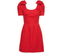 Woman Bow-embellished Cloqué Mini Dress Crimson