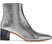Lanica Metallic Cracked-leather Ankle Boots Silver
