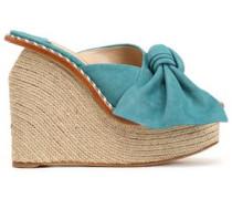 Bow-embellished suede espadrille wedge sandals