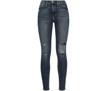 Le High Faded High-rise Skinny Jeans Midnight Blue  4