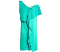Asymmetric Draped Satin-crepe Mini Dress Jade