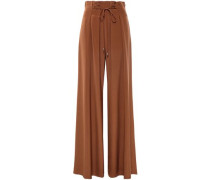 Pleated Silk Crepe De Chine Wide-leg Pants Light Brown