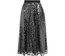 Grosgrain-trimmed Sequined Tulle Midi Skirt Black