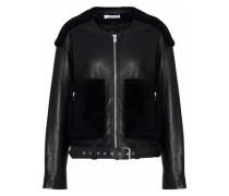 Faux fur-paneled leather jacket