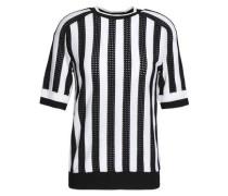 Striped Pointelle-knit Top White