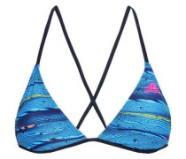 Printed Triangle Bikini Top Blue