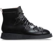 Woman Lace-up Glossed-leather Ankle Boots Black