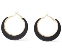 Gold-tone Acetate Hoop Earrings Black Size --