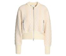 Jacquard-knit cotton-blend bomber jacket