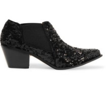 Sequined leather boots