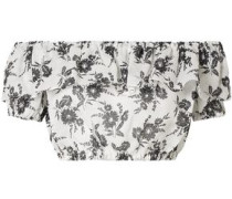 Cropped Off-the-shoulder Ruffled Floral-print Ramie Top Ivory