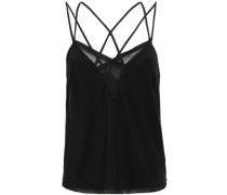Tulle-paneled Stretch-modal Pajama Top Black