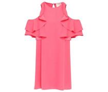 Cold-shoulder Ruffle-trimmed Crepe Mini Dress Bubblegum