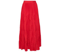 Pleated Crepe De Chine Midi Skirt Red