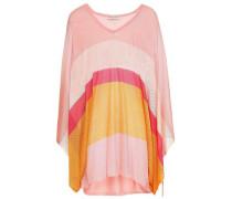 Striped Pointelle-knit Top Peach