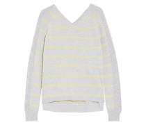 Pointelle knit-paneled striped cotton sweater