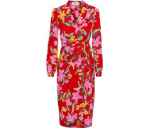 Carla Printed Crepe Wrap Dress Tomato Red