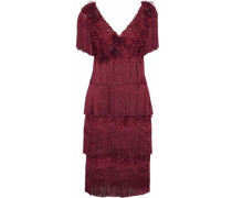Fringed Tiered Appliquéd Embroidered Tulle Dress Claret Size 0