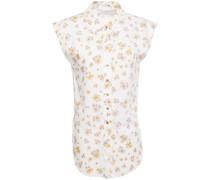Woman Floral-print Cotton-poplin Shirt White
