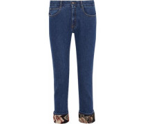 Jacquard-trimmed Mid-rise Slim-leg Jeans Mid Denim  7