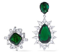 Silver-tone Crystal Clip Earrings Forest Green Size --