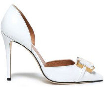 Embellished Metallic Patent-leather Pumps White