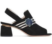 Camille Mesh-trimmed Embellished Suede Sandals Black