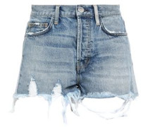 Distressed Denim Shorts Light Denim  4