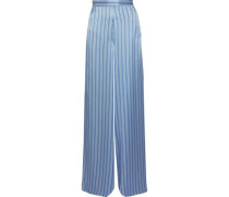 The Tommy Striped Silk-charmeuse Wide-leg Pants Light Blue