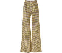 Luc Houndstooth Tweed Wide-leg Pants