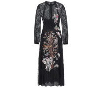 Point D'esprit-paneled Embroidered Silk-lace Midi Dress Black