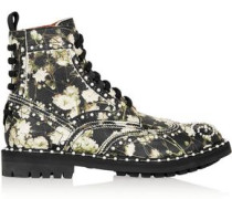 Ankle Boots In Multicolored Floral-print Textured-leather Black