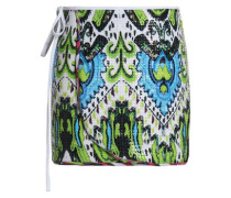 Sequined printed stretch-jersey wrap skirt