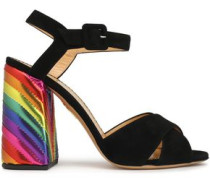 Woman Emma Suede And Metallic Leather Sandals Black