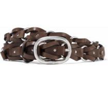 Mason ring-embellished woven leather belt