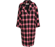 Checked wool and cotton-blend bouclé coat