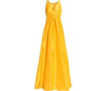 Pleated silk-taffeta gown