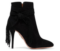 Loren knotted fringe-trimmed suede ankle boots