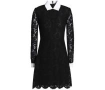 Piqué-trimmed corded lace mini dress