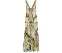 Crystal-embellished printed silk maxi dress