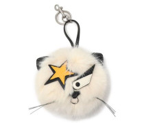 Silver-tone, leather and faux fur keychain