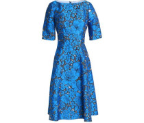 Flared floral-jacquard dress