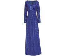 Sequin-embellished Crepe Gown Royal Blue