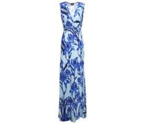 Wrap-effect Floral-print Crepe De Chine Gown Light Blue