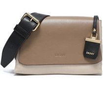 Color-block leather shoulder bag