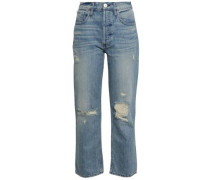 Aberdeen Cropped Distressed Mid-rise Slim-leg Jeans Mid Denim  3