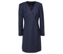 Striped Wool-jacquard Mini Wrap Dress Navy Size 0