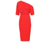 One-shoulder Stretch-ponte Dress Tomato Red